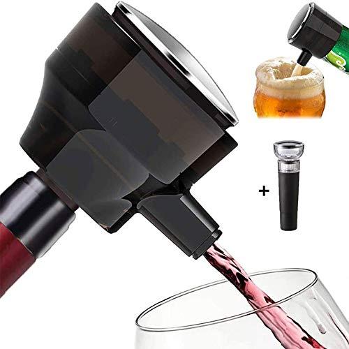HUJUNG Électrique Aérateur à vin, One-Touch Automatique Pourer Portable, Rechargeable USB, électrique Accessoires pour la bière, vin Rouge et Blanc