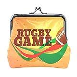 ANINILY Jeu de Rugby Sport en Cuir Mini Porte-Monnaie Fermeture à Pression Pochette Portefeuille pour Femmes Filles