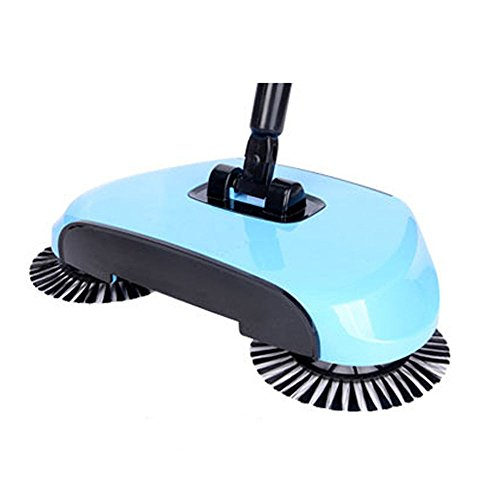 XTELARY Lazy Automatic Hand Push Sweeper Broom Household Cleaning Without Electricity Dustpan Trash Bin 4 Colors (Blue)