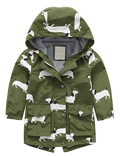 Echinodon Kinder Regenjacke Jacke mit Kapuze Baby Mädchen Jungen Übergangsjacke Funktionsjacke Frühling Herbst Armeegrün 90
