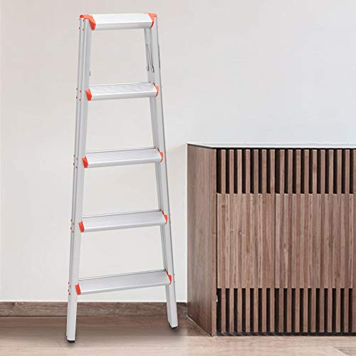 LUISLADDERS 5 Step Ladder Aluminum Lightweight Ladder Double Sided A Step Ladder Folding Step Stool with Anti-Slip Wide Pedal 330lbs
