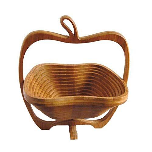 HYDL Fruteros de Cocina, Cesta de fruta de bambú plegable en forma...