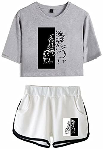 Chándales de manga corta para mujer, diseño de bola de dragón, para verano, súper saiyan, conjuntos de pijama de anime súper guerrero, hijo Goku DBZ, camiseta y pantalones cortos de ropa deportiva