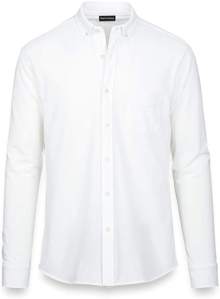 Paul Fredrick Men's Cotton Knit Solid Button Front Shirt