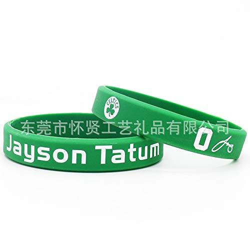 ZWH Tatum Silicona Suministro Celtics de la NBA de Baloncesto Pulsera Anillo de la Mano Luminosa muñequeras Jugadores Estrella (Color : Green)
