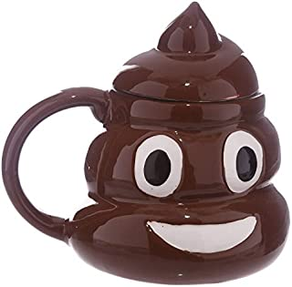 DENTRUN 14 Ounces Emoji Poop Ceramic Mug,Shaped Like The Poop Coffee Tea Milk Ceramic Cup, Great for Hot Cocoa, Soup or as a Candy Jar Innovative Novelty Gift - Comes in Box