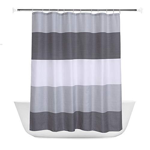 SONNIGPLUS Duschvorhang, Schimmelresistenter & Wasserabweisend Shower Curtain, Wasserdichter Vorhang mit verstärktem Saum, Duschvorhang aus Polyester, Streifen, Grau,240x200cm