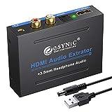 eSynic 1080p Extracteur Audio Splitter HDMI vers optique SPDIF RCA Audio Vidéo adaptateur HDMI vers HDMI Convertisseur R/L convertisseur audio analogique pour Apple TV lecteur Blu-Ray