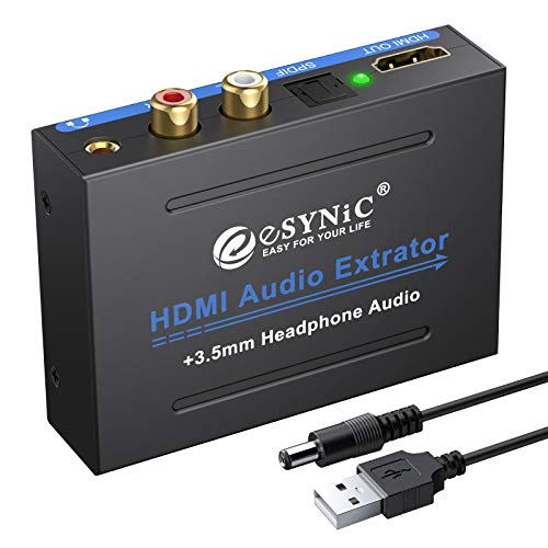 eSynic 1080P HDMI Audio Extractor HDMI to HDMI + Optical TOSLINK SPDIF + Analog RCA L R +3.5mm Jack Stereo Audio Video Splitter Converter with Power ON Off Switch Support Full HD1080p 3D