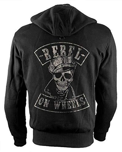 Rebel on Wheels Biker-Hoodie Motorrad-Hoodie Aramid Brando Skull Schwarz Kapuzen Jacke Motorrad M