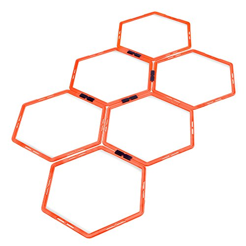 Crown Sporting Goods Hexagonal Ladder Set, Fluorescent Orange – Plyometric Hex Speed Rings for Agility Footwork Training & Vertical Jump Workouts, Features 6-Rungs of Hexes