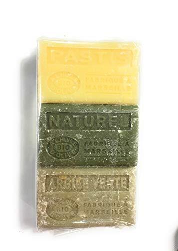 Label Provence - Lot de 3 Savons de Marseille BIO à l'huile d'OLIVE -senteur : Pastis, Argile verte, Naturel - 3x125 gr - Fabriqué à Marseille