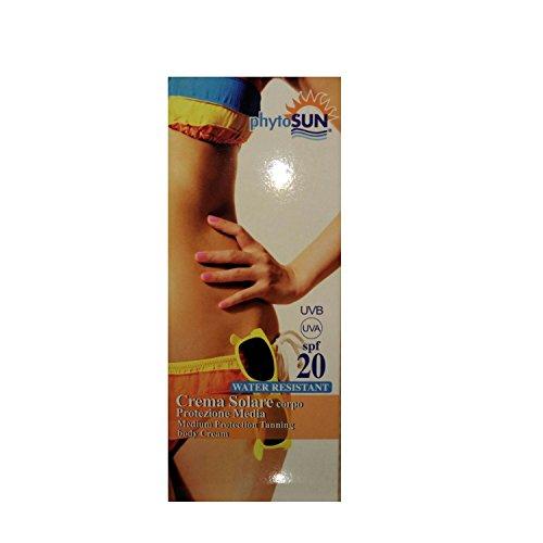 PHYTO SINTESI PHYTOSUN SOLARI MEDIUM PROTECTION TANNING BODY CREAM CREMA SOLARE CORPO PROTEZIONE MEDIA WATER RESISTANT 20 SPF 150 ML