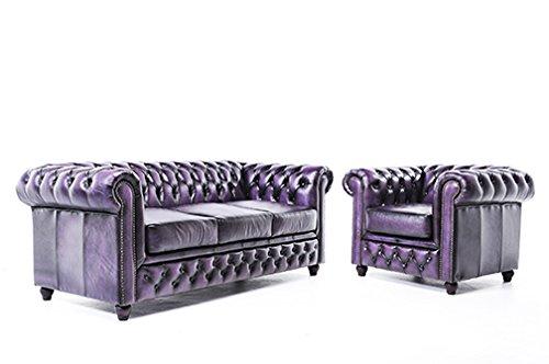 Original Chesterfield Canapé et Fauteuil 3/1 Places Antique Violet