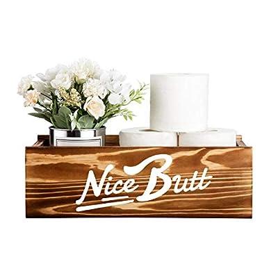 Nice Butt Box Bathroom Humor Decor, Toilet Paper Holder, Rustic Wooden Storage Organizer Toilet Lid Tank Cover