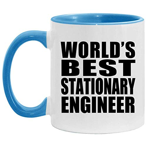 Worlds Best Stationary Engineer - 11oz Accent Coffee Mug Blue Ceramic Tea-Cup - For Friend Retirement Graduation Boss Birthday Anniversary Mothers Fathers Day FKH4SF