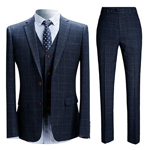 Allthemen Herrenanzug Anzug Herren Anzug Kariert Slim Fit 3 Teilig Anzüge Sakko für Business Hochzeit Blau1 Large