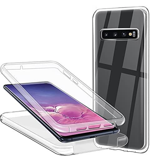 CHIMUCO Funda para Samsung Galaxy S10, 360 Grados Carcasa Transparente Ultrafino Silicona TPU Frente y PC Back Case Protección Integral Funda de Doble Protección - Transparente