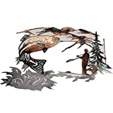 3D Metal Wall Art-Fishing Wall Decor Hanging Hunting Scene Metal Wall Art for Indoor Outdoor Animal Artwork Rustic Home Office Cabin Farmhouse Decorations 12x8 inch¡