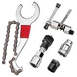 Komake Fahrrad Kassette Removal Tool, Fahrrad Reparatur Werkzeug, Demontage Werkzeug Fahrrad Set mit 5-11 Fach Kompatibel Kettenpeitsche Kurbel Kette Achse Demontage Werkzeug