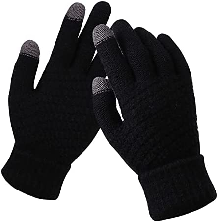 YANYAN Women's Winter Touch Screen Gloves Thicken Warm Knitted Stretch Gloves Imitation Wool Full Finger Outdoor Skiing Gloves (Color : Black, Gloves Size : One Size)