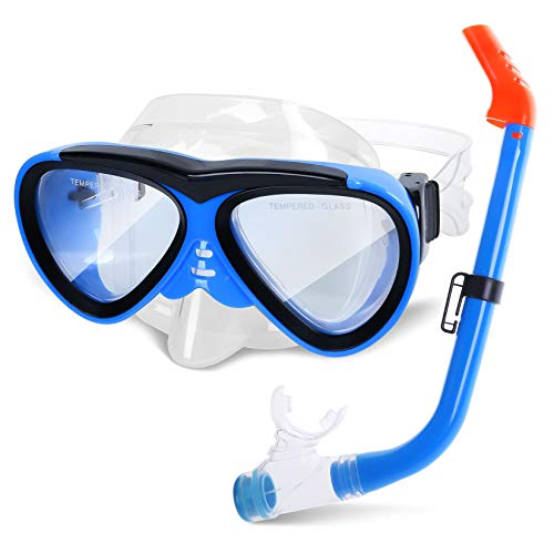 GreenLF Kids Snorkel Set, Anti-Fog Snorkeling Mask with Nose Covers for Youth Junior Child, Boys & Girls Age 5-12, Semi-Dry Diving Scuba Swimming Goggles Gear Packages (Blue)