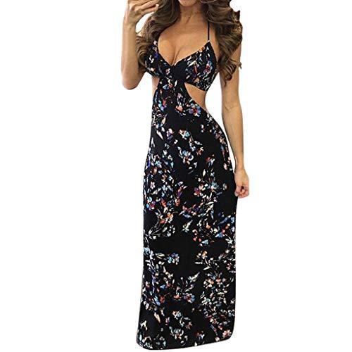 Sulifor Vestidos de Noche Sexy sin Mangas,Vestido en el Club Nocturno para Mujer,Vestido sin Respaldo del Dobladillo con estampato de Floral,Vestido Elegante de Fiesta