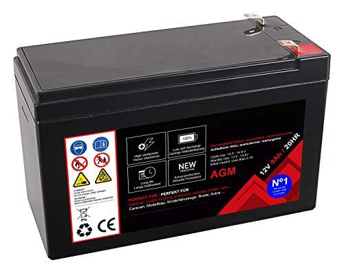Premium Akku für AGM Blei 12 Volt 9Ah 20 Stunden Batterie Bleiakku Bleigel Wartungsfrei (12V 9Ah 20HR)