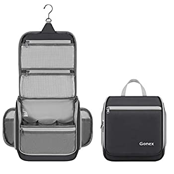 Gonex Hanging Toiletry Bag Travel Organizer Bag for Makeup and Toiletries Men and Women Black