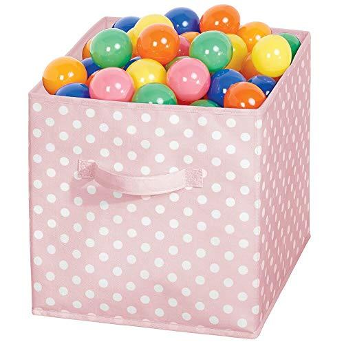 mDesign Caja organizadora cuadrada para dormitorio o habitación infantil – Caja de tela con asa para ordenar armarios – Caja plegable para guardar juguetes o ropa – rosa claro y blanco