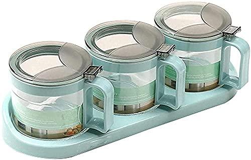 Premium glazen kruiden Ingeblikte kruiden Set Spice Seap Tank Storage Container Spice Cover en Lepel Cookware 3 Sets…