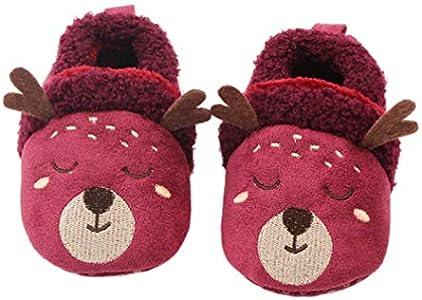 Amosfun Zapatos de bebé de Navidad Infantil Prewalker cálido Zapatos Antideslizantes Botas de Invierno Calcetines Antideslizantes de Dibujos Animados Calcetines de Piso Zapatos de niño 11 cm