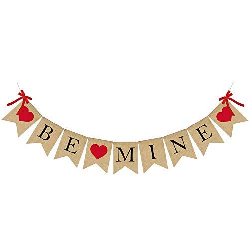 D/L 2021 más Nuevo Banner de San Valentín, Banner de arpillera de corazón Be Mine, decoración del día de San Valentín, Colgante de Pared de San Valentín para decoración de Fiestas de Aniversario