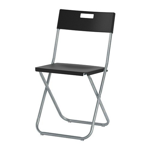 Ikea GUNDE Folding Chair in Black, White