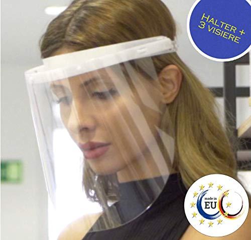 Fredo® Ergonomisches Gesichtsschutz - Visier aus Kunststoff - Face Shield - Aufklappbar Gesichts Schutzschild - 1 x Halterungen mit je 3 Wechselfolien
