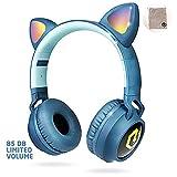 Kinderkopfhörer Bluetooth, PowerLocus Kinder Kopfhörer Over-Ear mit 85db Lautstärkebegrenzung LED-licht Faltbare HD Stereo Kopfhörer Kabellose und Kabel, eingebautes Mikrofon für Handy, Tablet,PC,TV