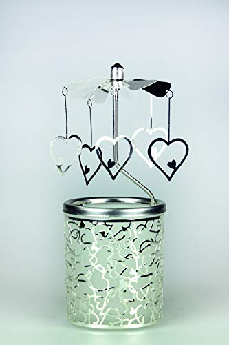 Kerzenfarm Hahn Glaskarussell Teelichthalter Windlicht 84370 Motiv Herzen Größe 16 x 6 x 6 cm Glaskarussel, Glas, Silber, 6 cm