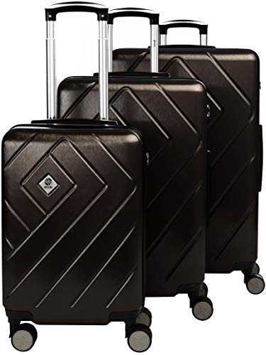 Lightweight Rolling 3 Piece Luggage Set with TSA Accepted Lock - Can be stored one into Another - Included Cabin Size Approved for Ryanair - Metallic Braun 3 pcs Set