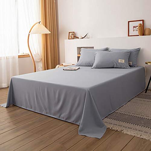 Cama Doble Simple sábanas de algodón Lavado, combinación de sábana + Funda de Almohada, Ropa de Cama Gris Claro 180x230cm [1 sábana + 2 Fundas de Almohada]