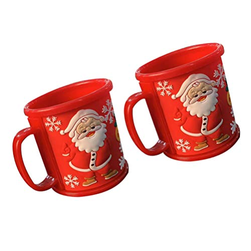 DOITOOL Christmas Coffee Mug Christmas Tea Cup Santa Claus Drinking Mugs Xmas Coffee Mug Set Plastic Xmas Holiday Festival Gifts for Family Dad Mom Child Decor 2pcs 300ML