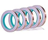 YFLFTST 5pcs Cinta de lámina de Cobre, Cinta Adhesiva Primera Calidad Doble Cobre para Blindaje emi, Circuitos de Papel, Manualidades de Bricolaje, Reparaciones Eléctricas, como Repelente de Caracol