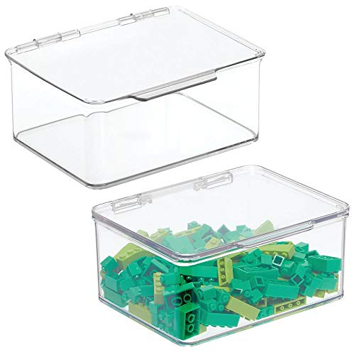 mDesign Plastic Stackable Organizer Toy Box with Attached Lid for Storage of Action Figures, Crayons, Markers, Building Blocks, Puzzles, Craft or School Supplies - 3' High, 2 Pack - Clear