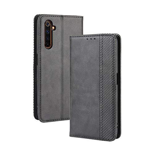 LAGUI Kompatible für Realme X50 Pro 5G Hülle, Leder Flip Hülle Schutzhülle für Handy mit Kartenfach Stand & Magnet Funktion als Brieftasche, schwarz