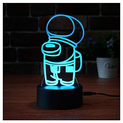 Luz nocturna, LED LIGHT BEBY NUCHE LIGHT, 7 COLORES Signo de neón recargable entre nosotros Lámpara de mesa de ilusión 3D para niños Decoración de dormitorio para niños-3_Base de diamantes