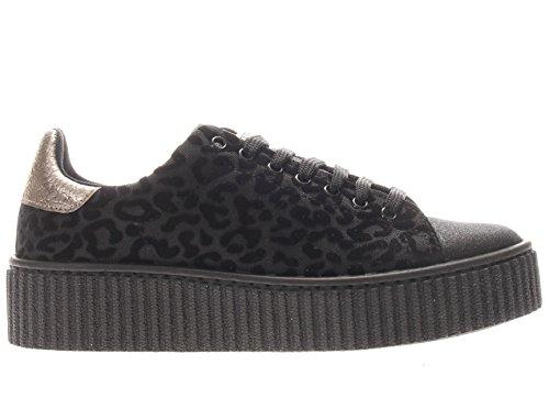 GUESS sneakers platform luipaard TESSUTO ZWART NERO FLDEN3FAB12 inverno 2018