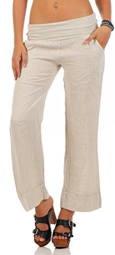 malito dames shorts uit linnen | stoffen broek in effen kleuren | Vrijetijdsbroek voor aan het strand | Chino - Joggingbroek 8076