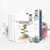 YUYTE Mascarilla Purificante, Mascarilla Hidratante, 10 Piezas 25g Mascarilla Morada de Frutas y Verduras, Ingredientes de Origen Vegetal, Suave y No Irritante, Hidratante y Nutritivo