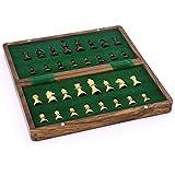 Caso del alma Moderno Magnético de madera plegable Conjunto de ajedrez con 2 reinas adicionales, interior de la tablero de juego hecho a mano para el almacenamiento para niños adultos principiante de