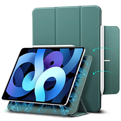 ESR Magnetic Case for iPad Air 4 2020 10.9 Inch/iPad Pro 11 2018 [Convenient Magnetic Attachment] [Trifold Smart Case] [Auto Sleep/Wake Cover] Rebound Series, Forest Green