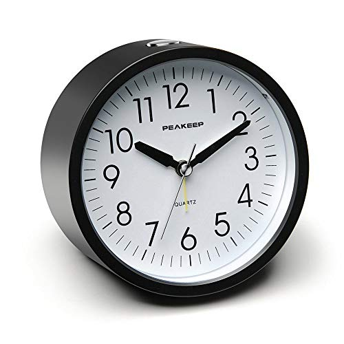 Peakeep Battery Operated Alarm Clock Silent Non Ticking, Gentle Wake, Increasing Beep Alarm Clock Volume, Easy Set (Black)